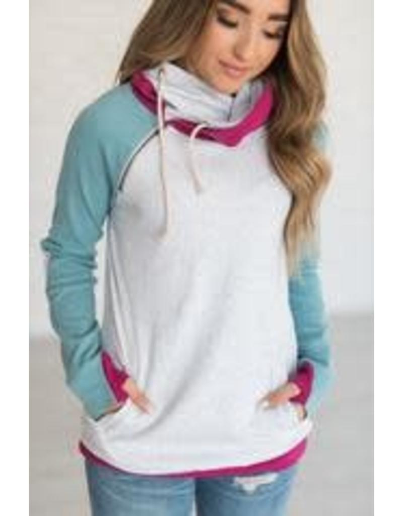 AmpersandAve DoubleHood™ Sweatshirt - Ocean Elbow Patch