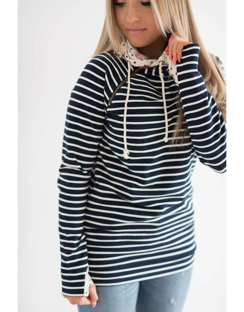 AmpersandAve DoubleHood™ Sweatshirt - Navy Stripe & Floral Dot