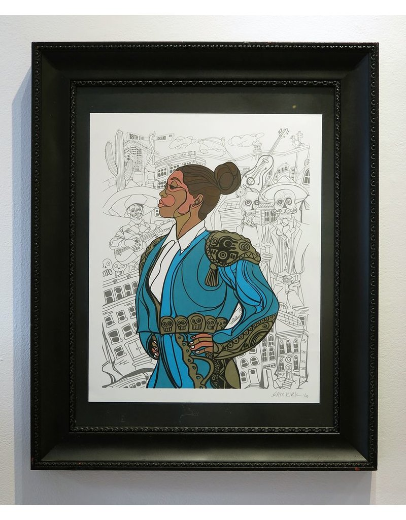 "Sam Kirk ""La Diosa De Oro"" FRAMED Print limited Edition of 40, Signed and Numbered by Artist, 16 x 20"