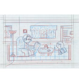 Ivan Brunetti Living Room, pencil roughs by Ivan Brunetti for Toon Book 3X4, 2017