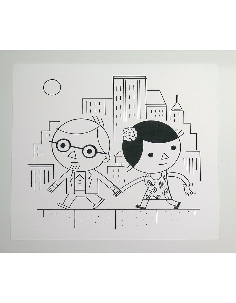 Ivan Brunetti Couple, Center Panel Illustration by Ivan Brunetti for the New Yorker, Goings On About Town, September 12, 2013