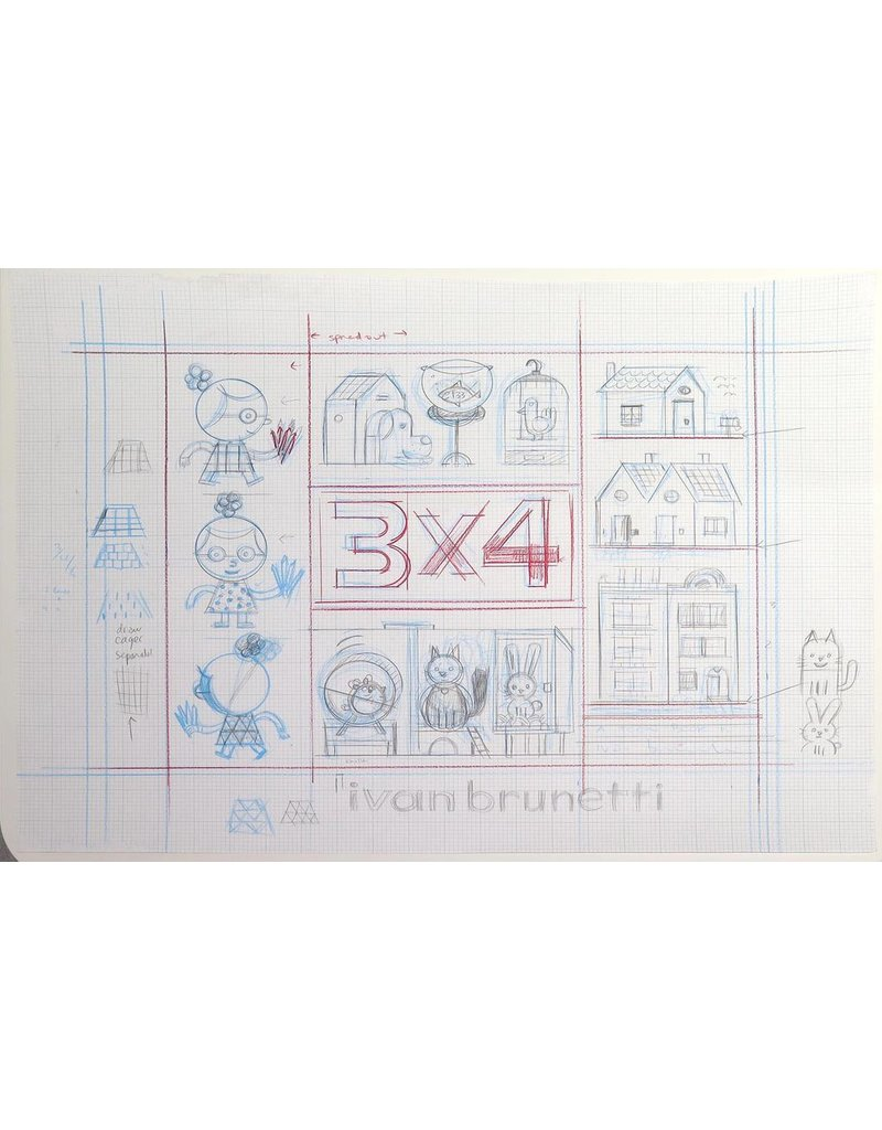 Ivan Brunetti Pencil rough for 3X4 cover, 2017 by Ivan Brunetti