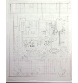 "Ivan Brunetti Revised pencil rough for cover of New Yorker (Nov. 4, 2013, ""Fast Food"") by Ivan Brunetti"