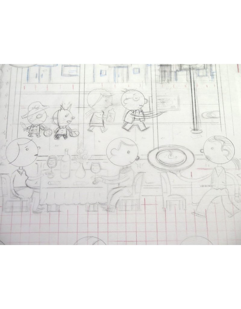 """Ivan Brunetti Revised pencil rough for cover of New Yorker (Nov. 4, 2013, """"Fast Food"""") by Ivan Brunetti"""