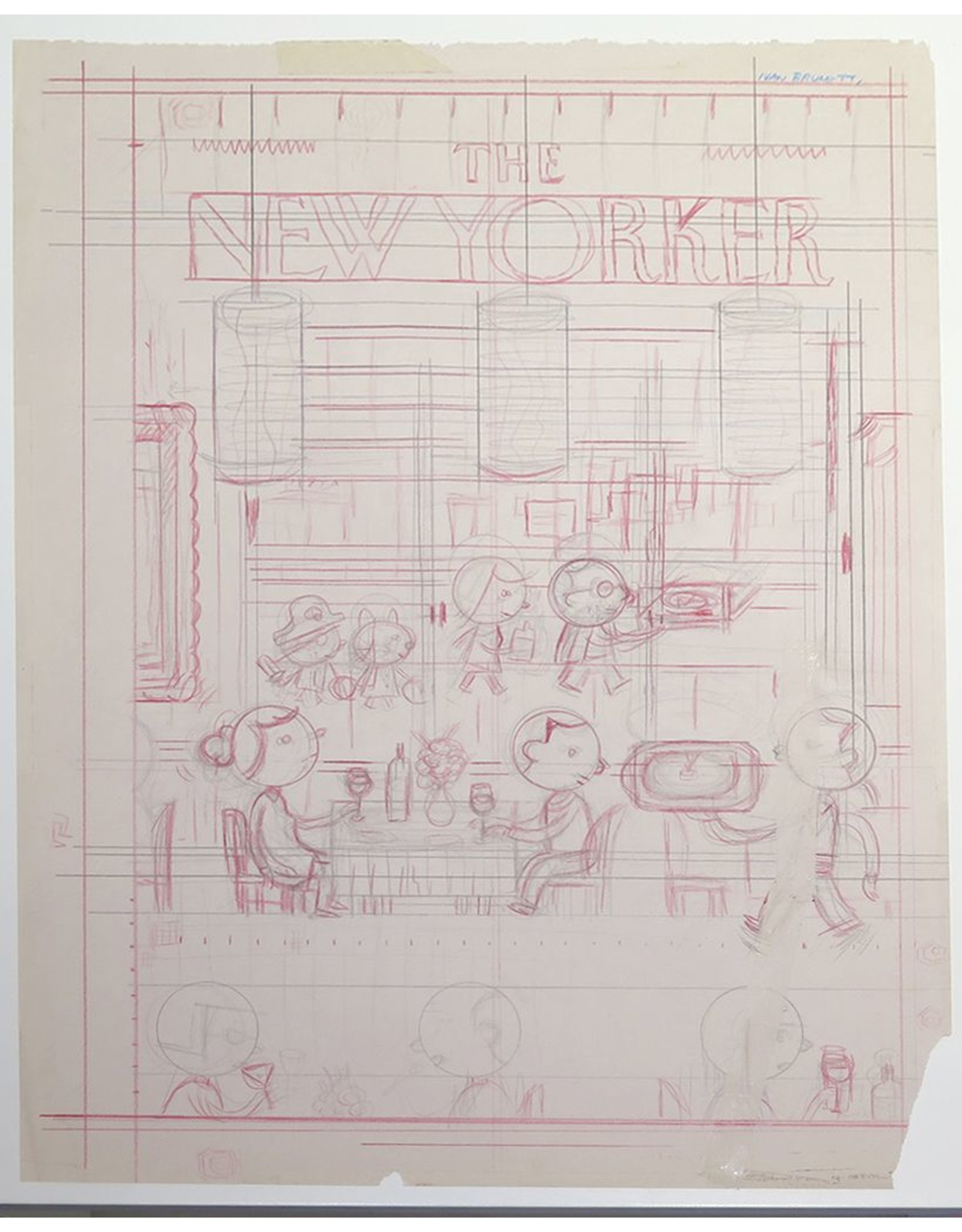 """Ivan Brunetti First pencil rough for cover of New Yorker (Nov. 4, 2013, """"Fast Food"""") by Ivan Brunetti"""