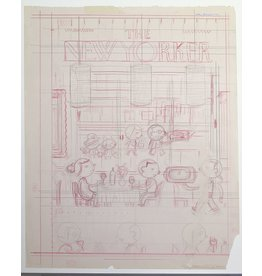 "Ivan Brunetti First pencil rough for cover of New Yorker (Nov. 4, 2013, ""Fast Food"") by Ivan Brunetti"