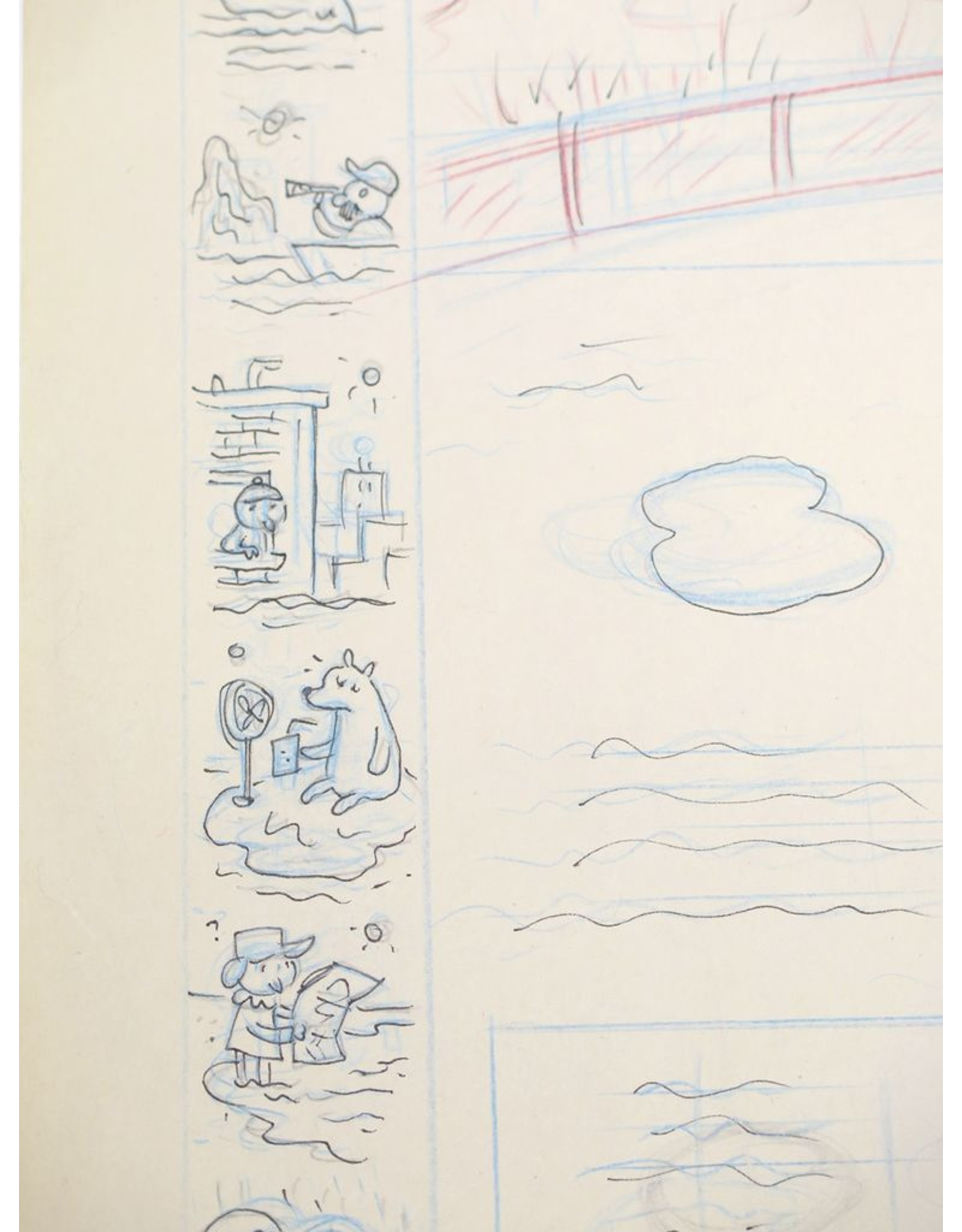 """Ivan Brunetti Pencil rough for """"One Thin Ice"""" (cover of the New Yorker, Jan. 8, 2007) by Ivan Brunetti"""