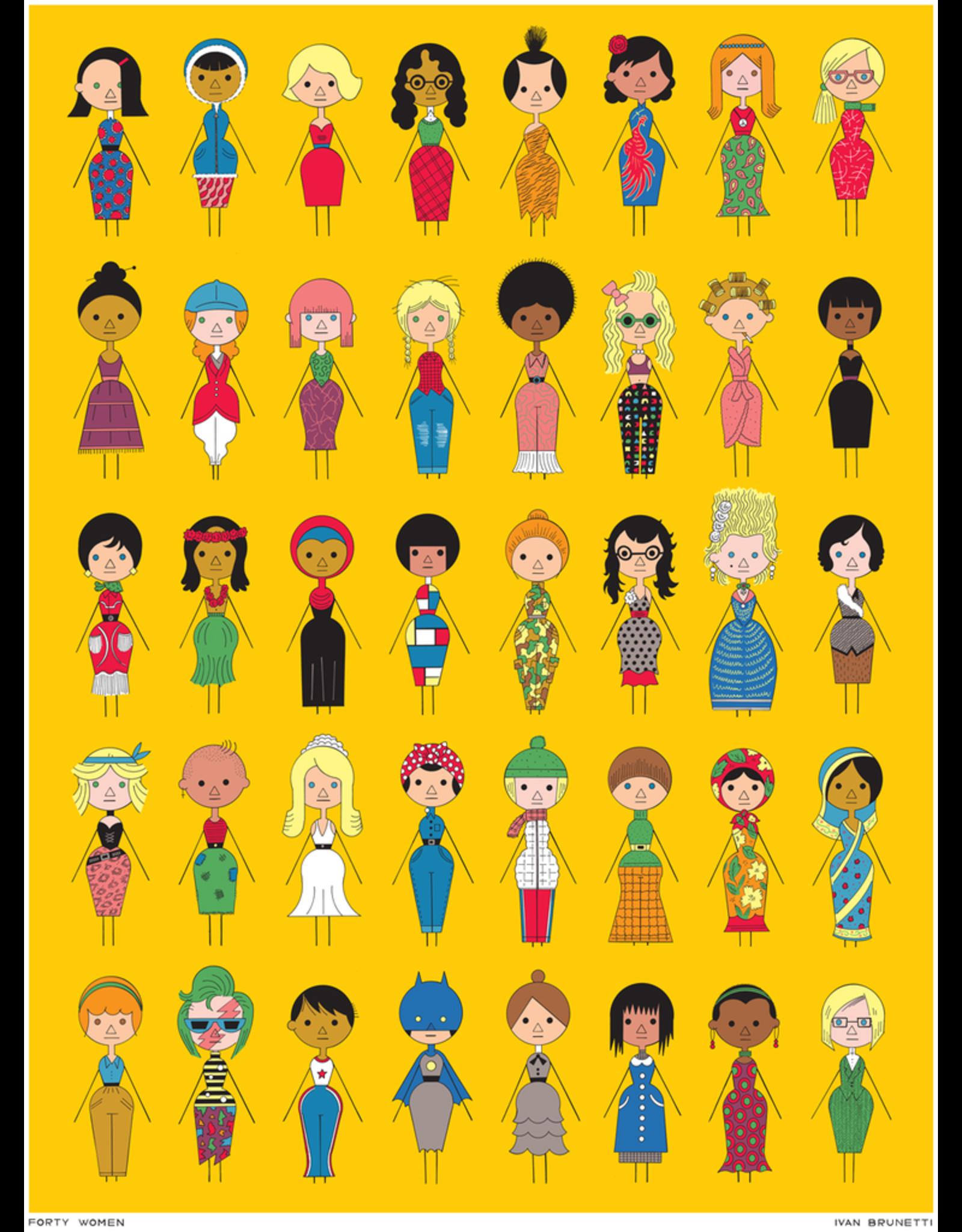 """Ivan Brunetti """"Forty Women"""" digital print by Ivan Brunetti"""