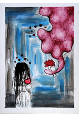 Blob + Ring Girl Watercolor Card by Anastasia Murphy