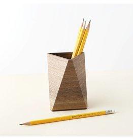 Walnut Triangular Pencil Cup