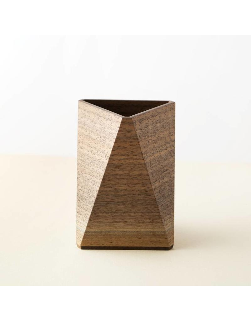 Walnut Triangular Pencil Cup