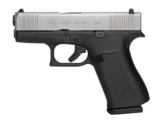 GLOCK Glock G43X 9mm 3.39In Silver nPVD Slide Front Serrations 2-10rd