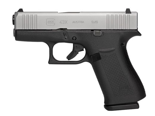 "GLOCK Glock, 43X, Semi-automatic, Striker Fired, Sub Compact, 9MM, 3.41"" Barrel, Polymer Frame, Silver Finish, 10Rd, 2 Mags, AmeriGlo Bold Night Sights"