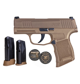 Sigsauer Sig Sauer P365 9mm 3.1In Coyote Tan PVD NRA SN X-Ray Night Sights 2-10Rd 1-Ext 10Rd Alter