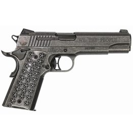 Sigsauer Sig Sauer Model 1911 We The People .45 ACP 5 Inch Barrel Distressed Stainless Steel Frame Siglite Night Sights Star Grips Engraved Slide 2-7 Round