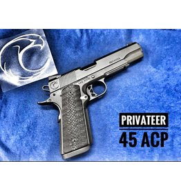 Carolina Arms Group Carolina Arms Group Privateer Govt Light Rail Frame .45acp Matte Black PVD NM Barrel & Bushing Mag Well Checkered MS Housing Checkered Front Strap Night Sights 2-Magazines
