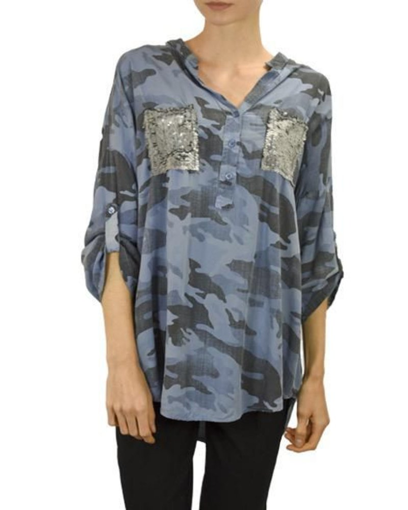 Camo Shirt With Sequin Pocket in Blue