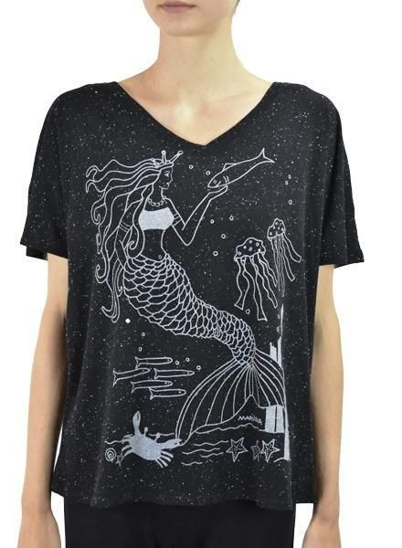 Marushka's Silver Mermaid On A Black Fleck Tee
