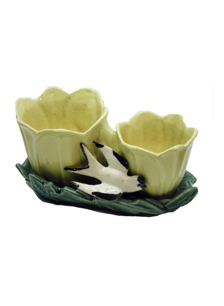 Vintage McCoy Double Tulip & Bird Planter