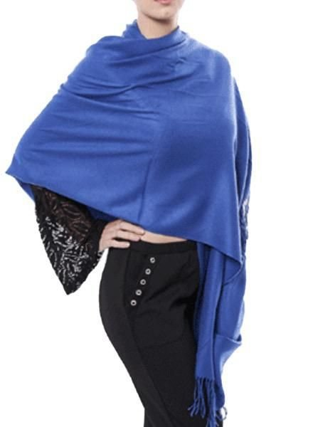 """Cashmere"" Scarf/Wrap In Blue"