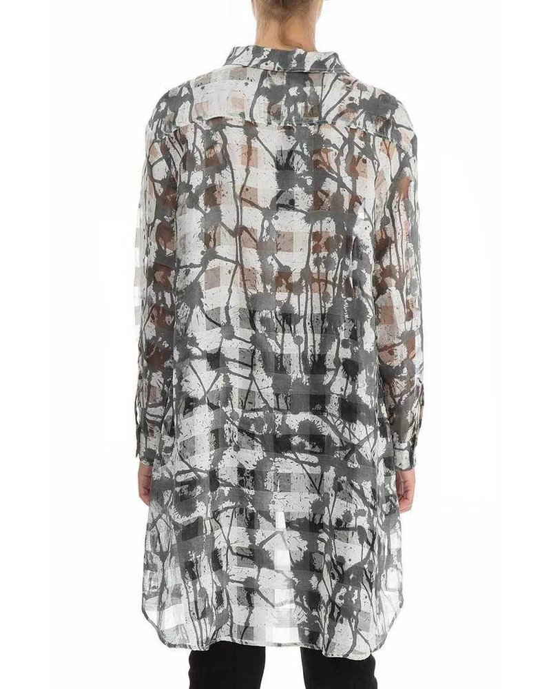 Griza's Splash Print Checkered Silk Shirt