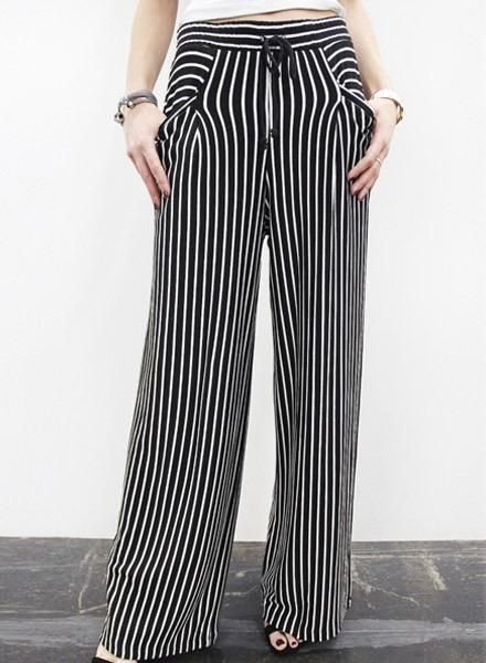 Coin Wide Leg Pocket Pant In Black & Ivory