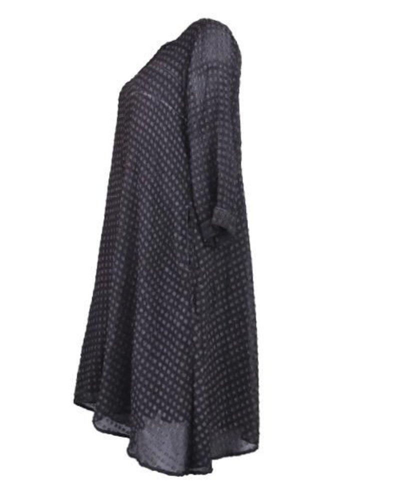 Griza's Washed Silk Dress In Aubergine Dot