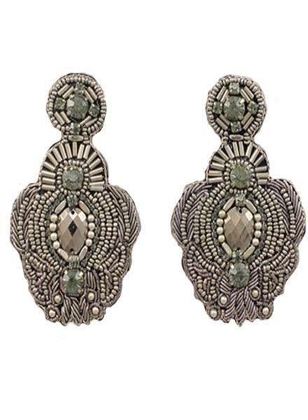 Beaded Throne Earrings in Hematite