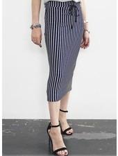 Coin Stripe Pencil Skirt In Navy & White Stripe
