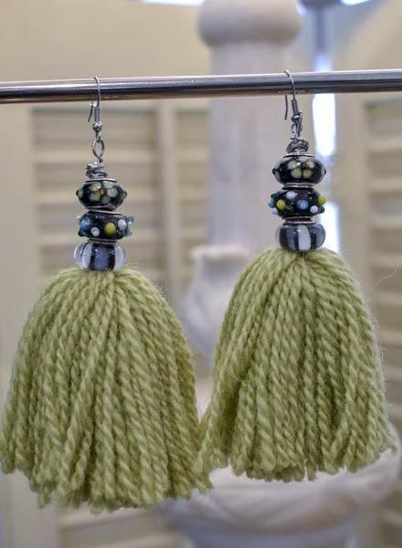 Bali Green Bead And Tassel Earrings