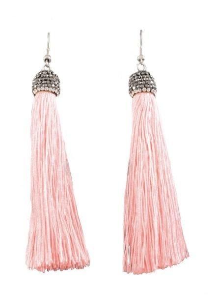 Tassel & Crystal Earrings In Pink