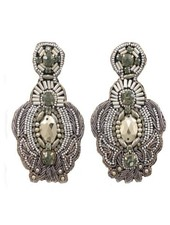 Beaded Throne Earrings in Silver
