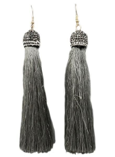 4 Tassel With Pave Cap In Grey