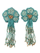 Seed Bead Flower Tassel Earrings In Mint