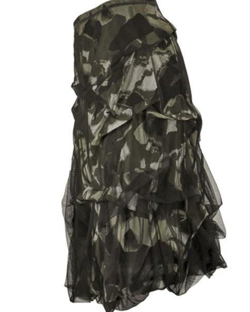 Petit Pois Draped Tulle Camo Skirt
