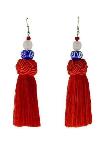 Handmade Tassel Earrings With Navy Bead On Red