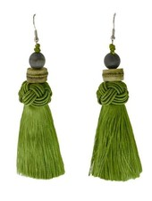 Handmade Tassel Earrings With Jasper Bead on Green