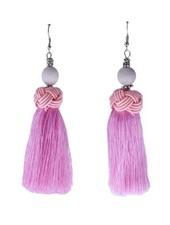 Handmade Tassel Earrings With Pink Bead On Pink