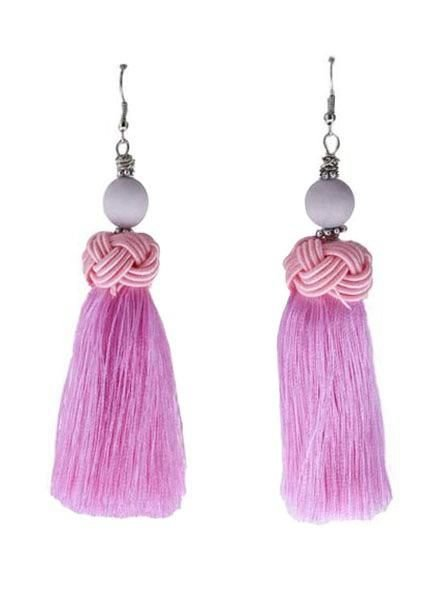 Handmade Tassel Earrings With Pink Bead On Pink