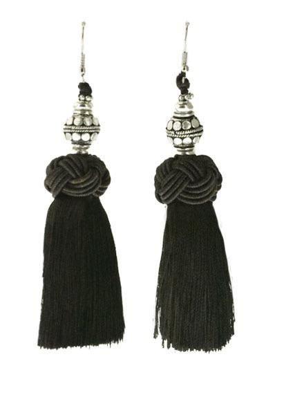 Handmade Tassel Earrings With Silver Bead on Brown