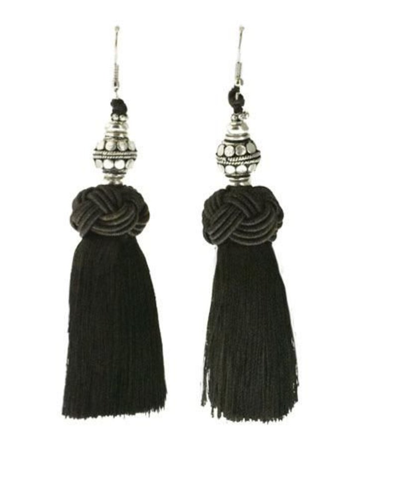 Handmade Tel Earrings With Silver Bead On Brown