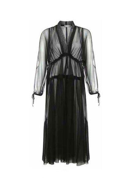 Alembika Alembika Sheer Long Topper Dress In Black