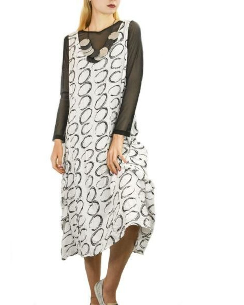 Gershon Bram Hove Dress In White & Black Circle