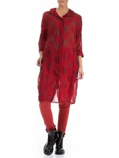 Griza's Bubble Print Silk Linen Shirt In Red