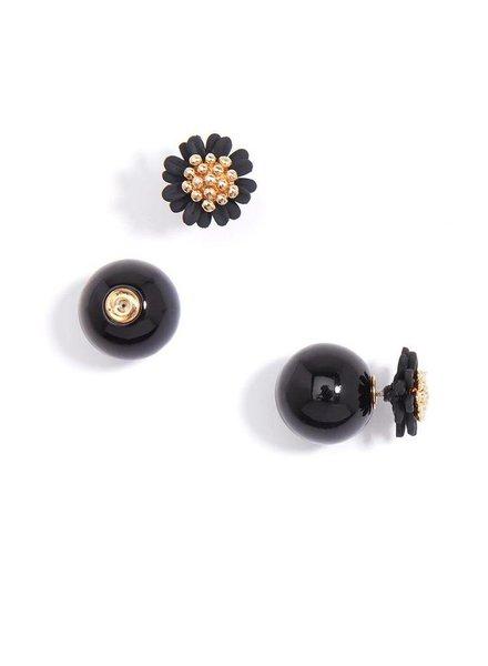 Pretty Little Peek-A-Boo Flower Earrings In Black