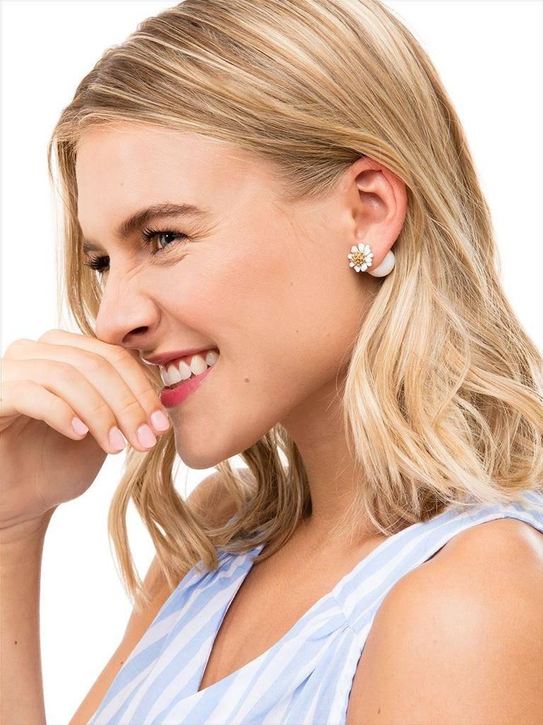 Pretty Little Peek A Boo Flower Earrings In Black Shady