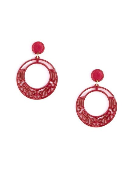 Lace Cut Out Resin Hoop Earrings In Red