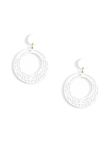 Lace Cut Out Resin Hoop Earrings In White