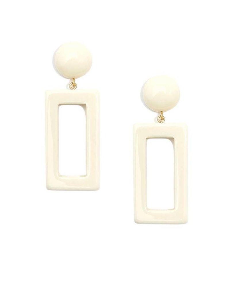 Chunky Rectangle Drop Earrings In Cream