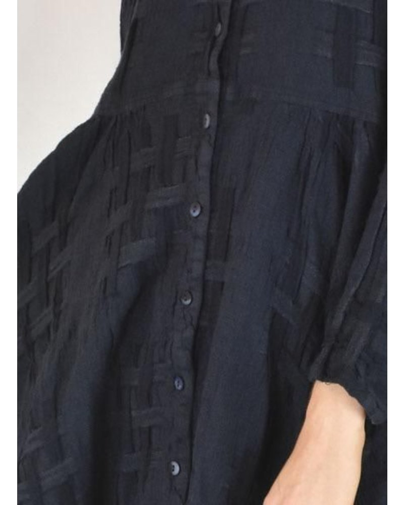 Griza S Woven Flaired Linen Jacket Dress In Dark Navy